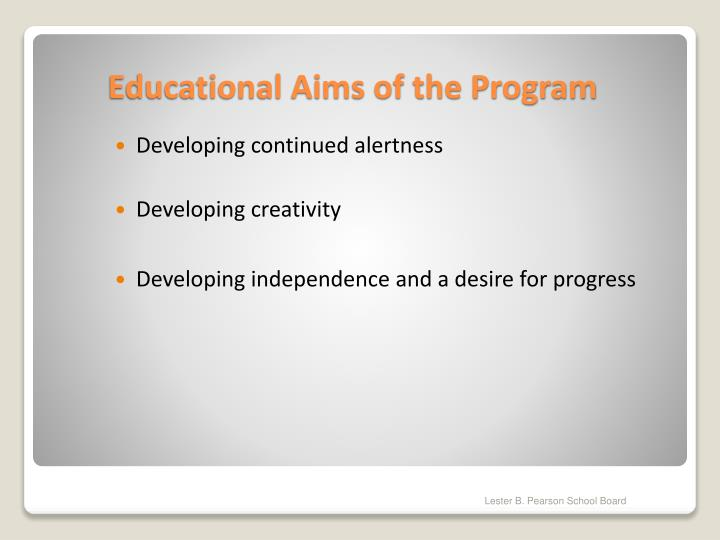 Educational aims of the program