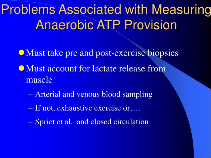 Problems Associated with Measuring Anaerobic ATP Provision