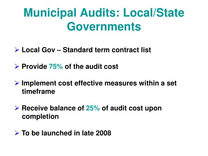 Municipal Audits: Local/State Governments