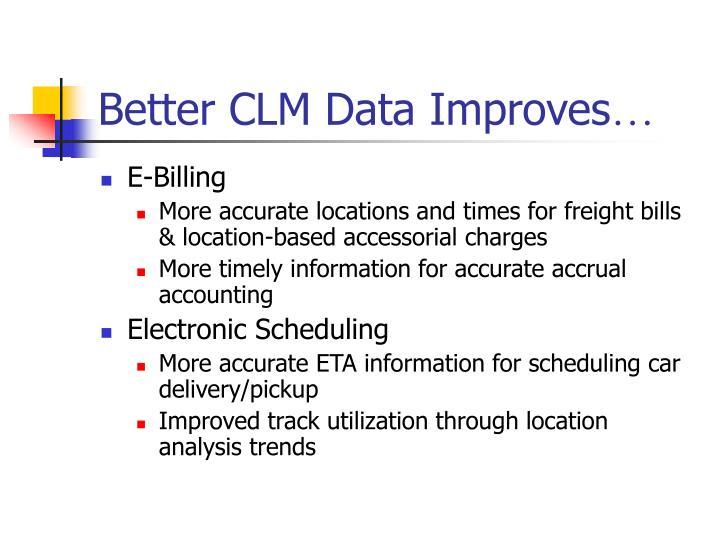 Better CLM Data Improves
