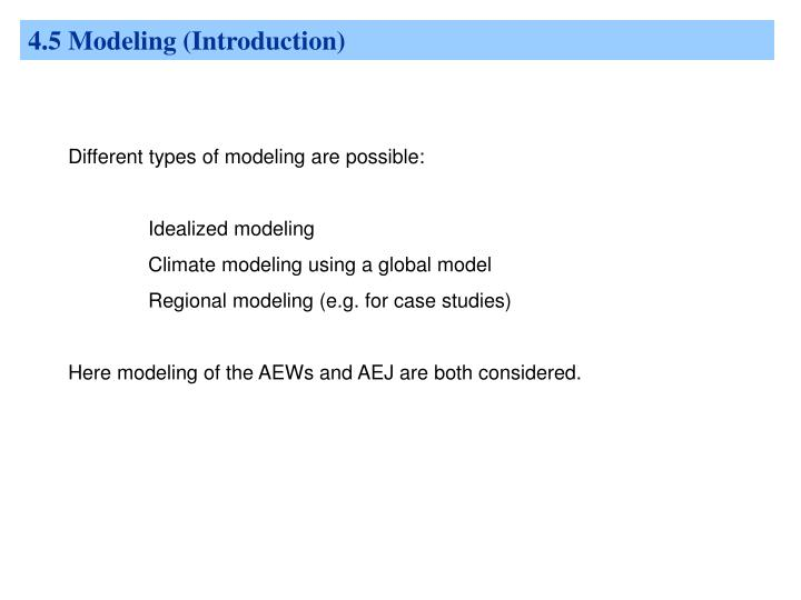 4.5 Modeling (Introduction)