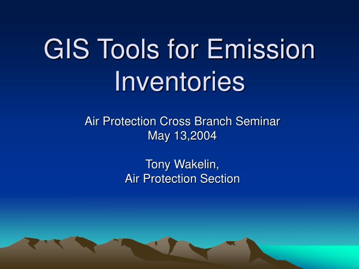 Gis tools for emission inventories