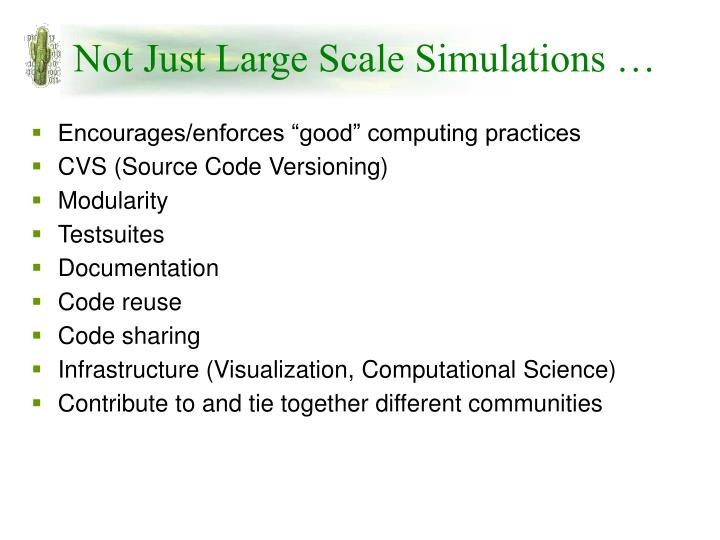 Not Just Large Scale Simulations …