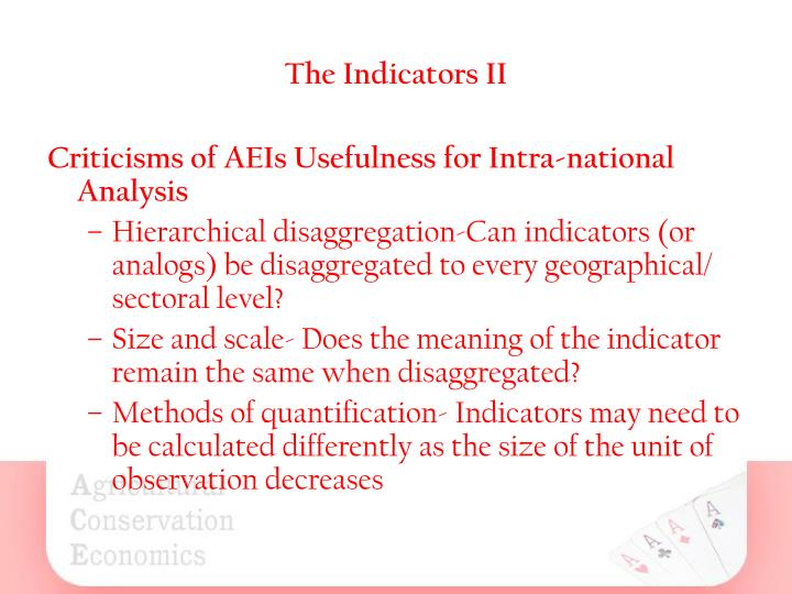 The Indicators II