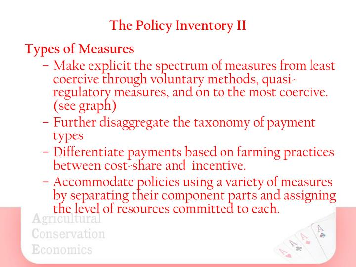 The Policy Inventory II