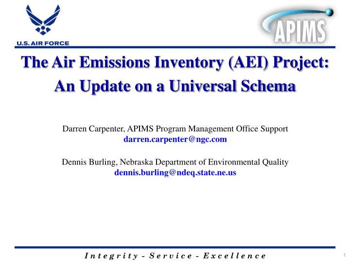 The Air Emissions Inventory (AEI) Project: