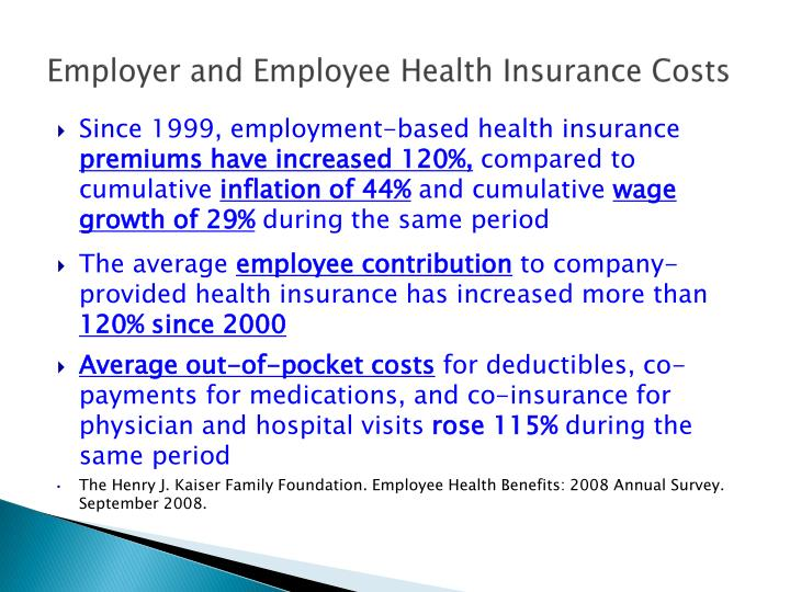 Employer and Employee Health Insurance Costs