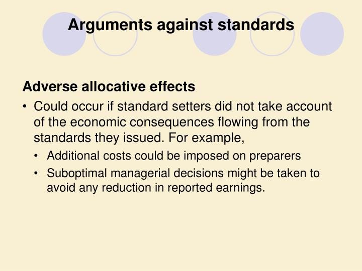Arguments against standards