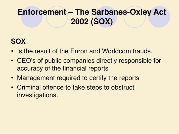 Enforcement – The Sarbanes-Oxley Act 2002 (SOX)