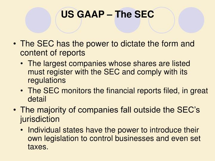 US GAAP – The SEC