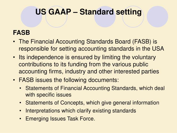 US GAAP – Standard setting