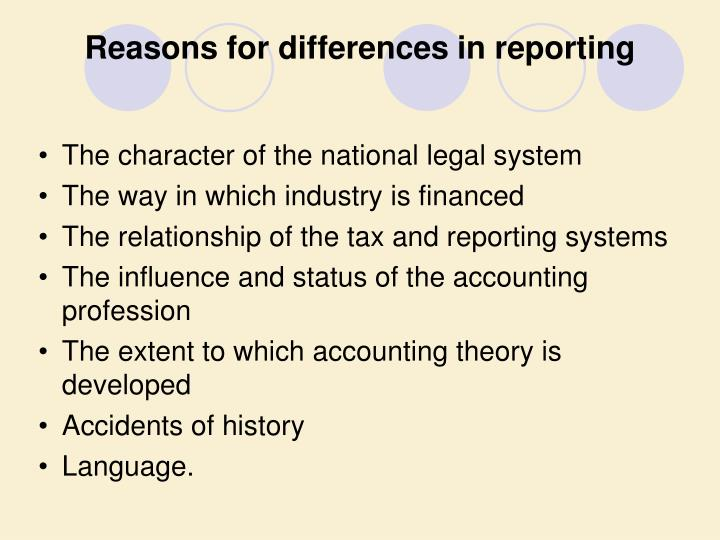 Reasons for differences in reporting