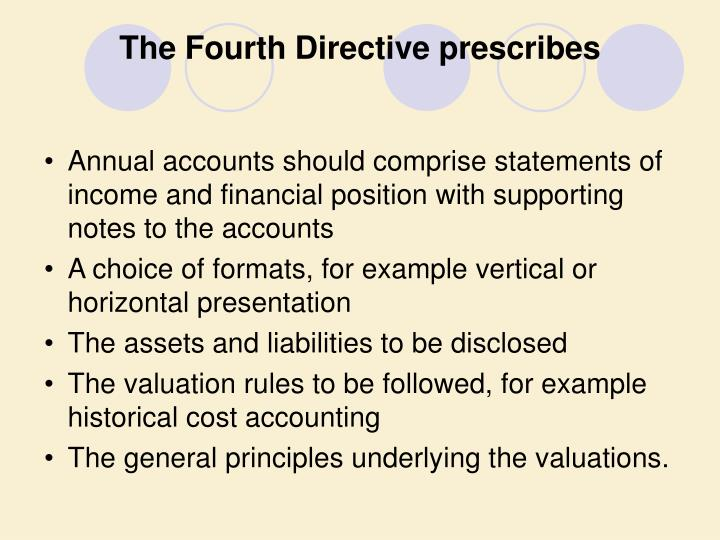The Fourth Directive prescribes