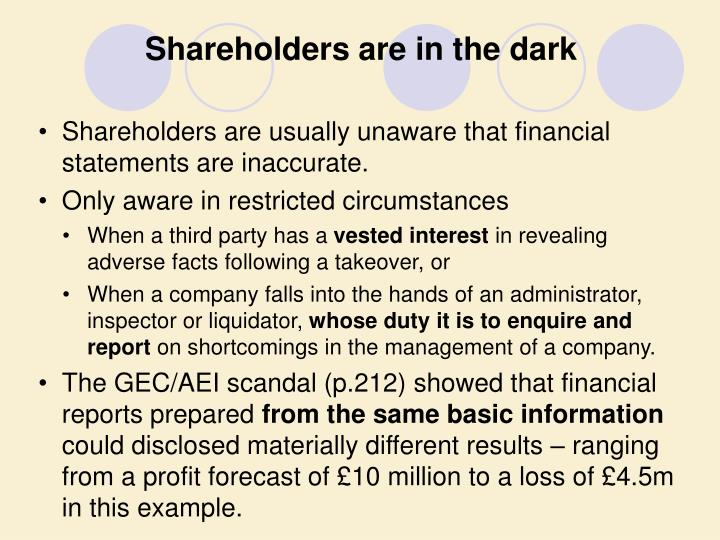 Shareholders are in the dark
