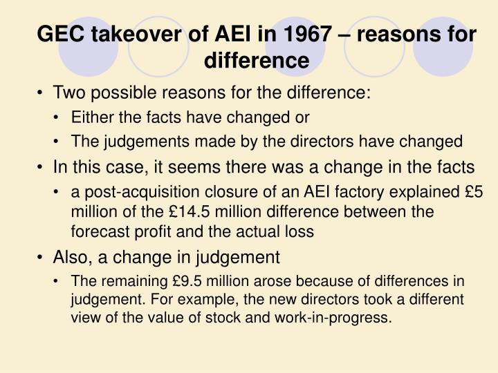GEC takeover of AEI in 1967 – reasons for difference