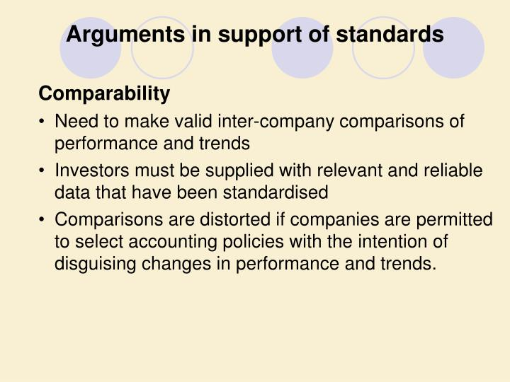 Arguments in support of standards