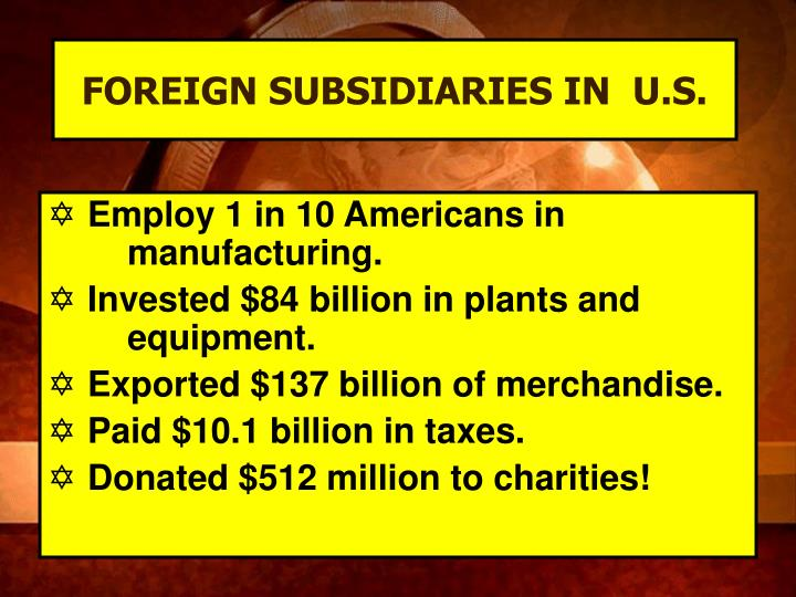 FOREIGN SUBSIDIARIES IN  U.S.