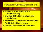 foreign subsidiaries in u s