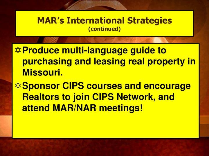 MAR's International Strategies