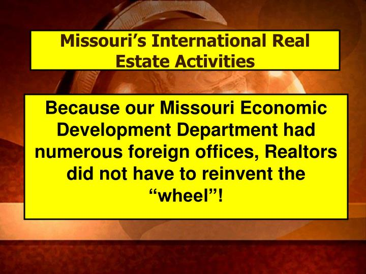 Missouri's International Real Estate Activities