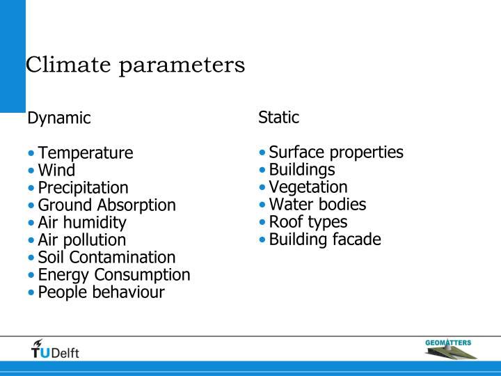 Climate parameters