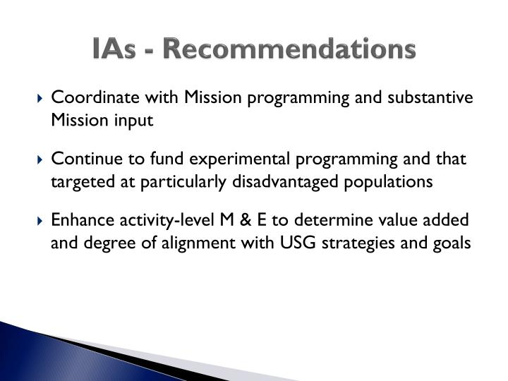 IAs - Recommendations