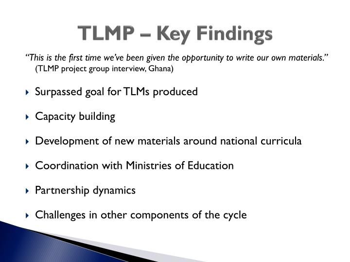 TLMP – Key Findings