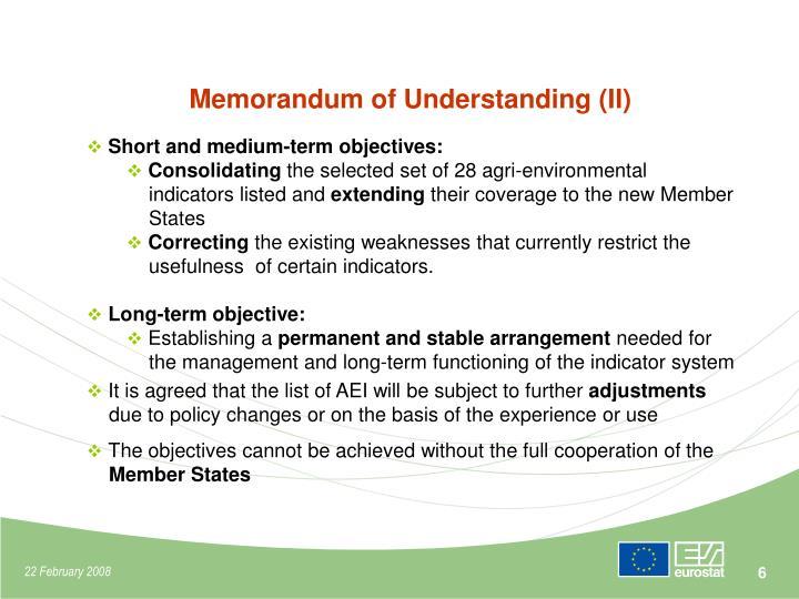 Memorandum of Understanding (II)