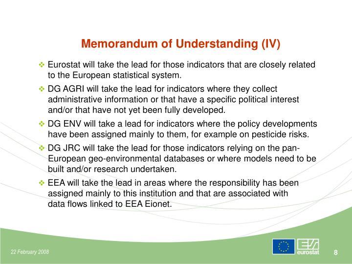 Memorandum of Understanding (IV)