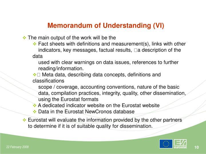 Memorandum of Understanding (VI)