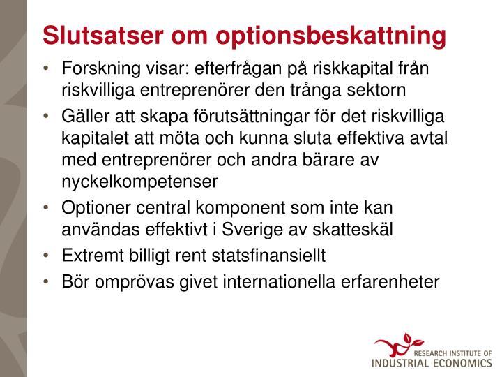 Slutsatser om optionsbeskattning
