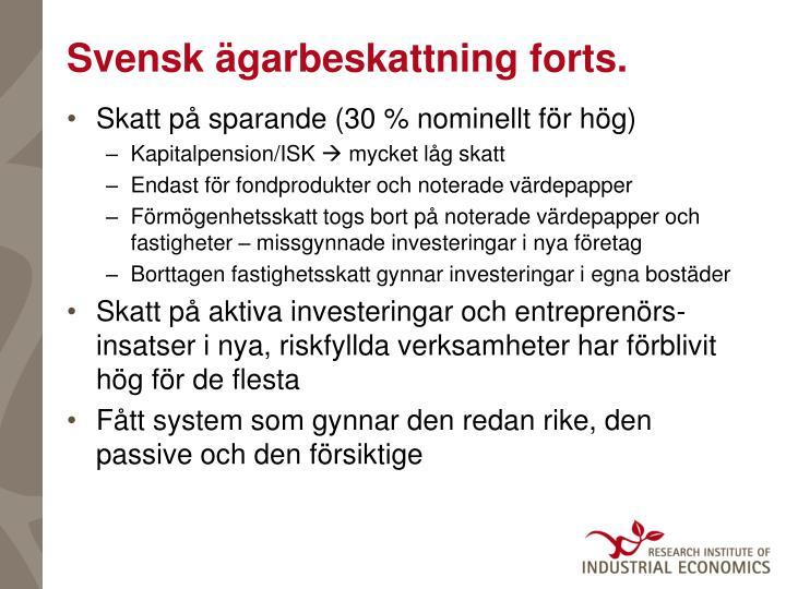 Svensk ägarbeskattning forts.