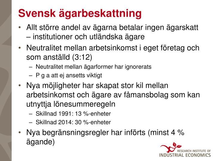 Svensk ägarbeskattning