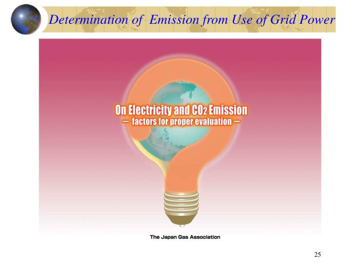 Determination of  Emission from Use of Grid Power