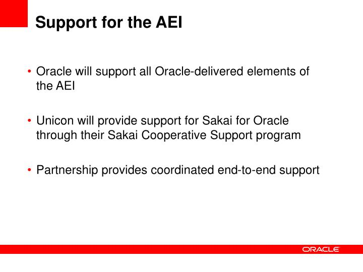 Support for the AEI
