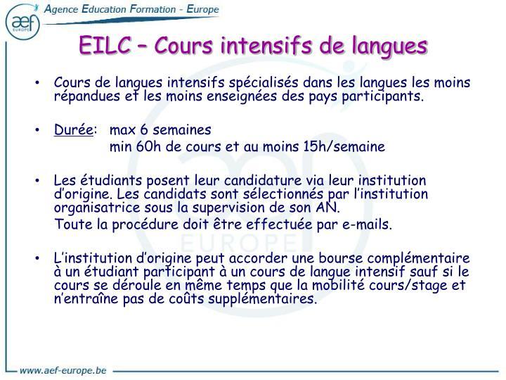 Cours de langues intensifs spécialisés dans les langues les moins répandues et les moins enseignées des pays participants.
