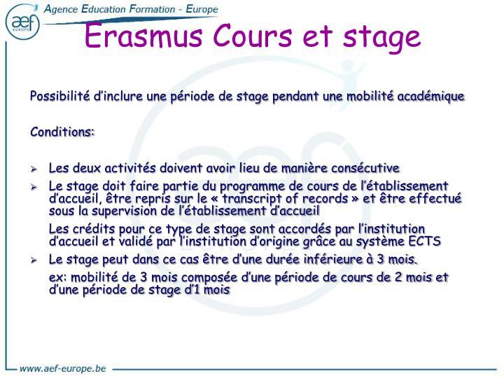 Erasmus Cours et stage