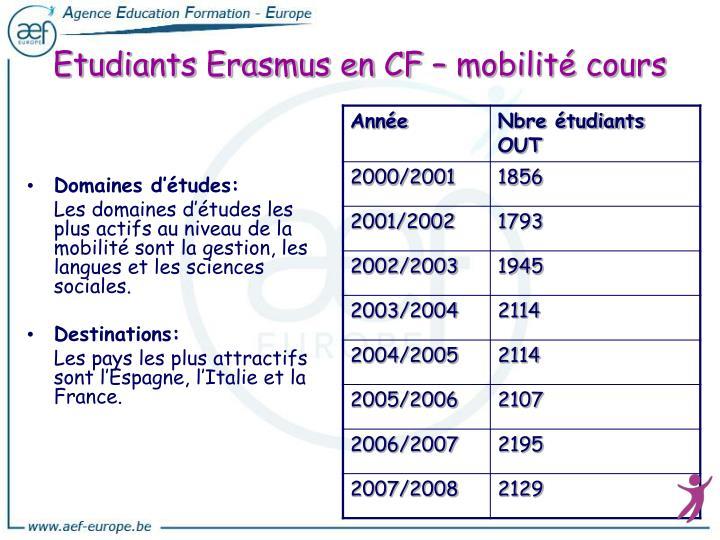Etudiants Erasmus en CF – mobilité cours