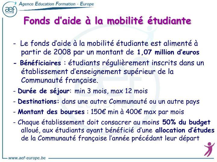Fonds d'aide à la mobilité étudiante