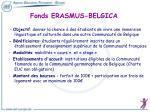 fonds erasmus belgica