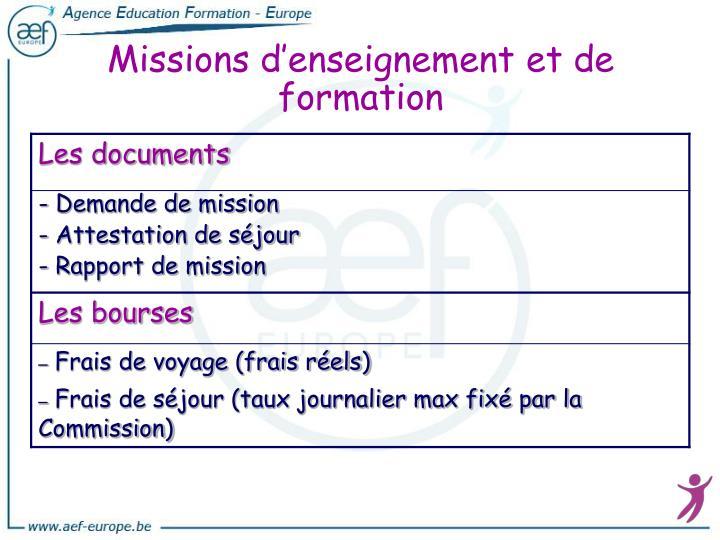 Missions d'enseignement et de formation