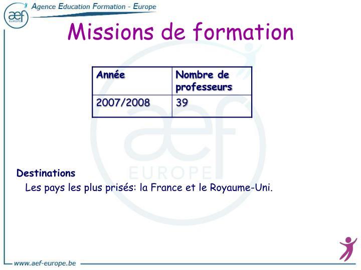 Missions de formation