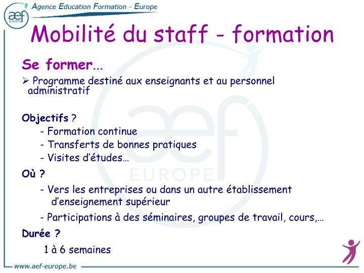 Mobilité du staff - formation
