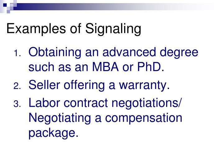 Examples of Signaling