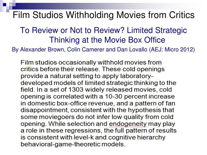 Film Studios Withholding Movies from Critics