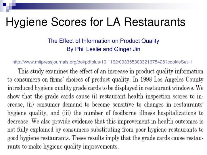 Hygiene Scores for LA Restaurants