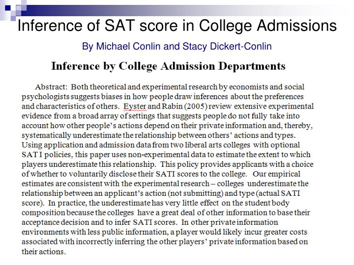 Inference of SAT score in College Admissions
