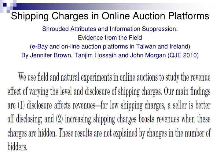 Shipping Charges in Online Auction Platforms