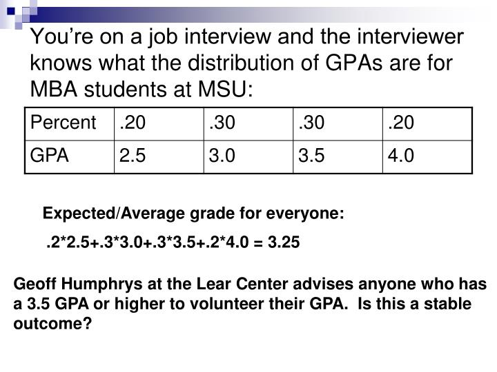 You're on a job interview and the interviewer knows what the distribution of GPAs are for MBA students at MSU: