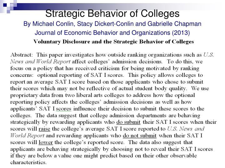 Strategic Behavior of Colleges